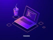 Portátil com néon escuro isométrico das aplicações do ícone, da programação de software e da programação do código do programa ilustração royalty free