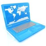Portátil com o mapa do mundo na tela Foto de Stock Royalty Free