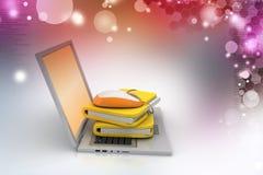 Portátil com pasta de arquivos e rato Fotos de Stock Royalty Free