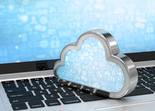 Portátil com símbolo de computação da nuvem no teclado Foto de Stock