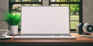 Portátil com a tela branca na mesa de madeira em casa Fundo borrado bonito da natureza ilustração 3D Fotos de Stock Royalty Free