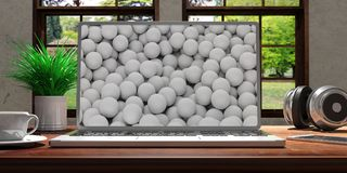 Portátil com a tela do golfe na mesa de madeira em casa Fundo borrado bonito da natureza ilustração 3D Fotos de Stock Royalty Free