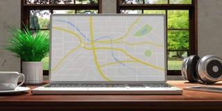 Portátil com a tela do mapa na mesa de madeira em casa Fundo borrado bonito da natureza ilustração 3D Imagens de Stock