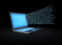 Portátil com um córrego de dados binário