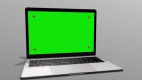 portátil 3D com uma tela verde em um fundo branco contínuo ilustração royalty free