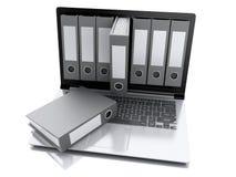 portátil 3d e arquivos Fundo branco Imagens de Stock Royalty Free