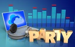 portátil 3d e fones de ouvido portátil e fones de ouvido ilustração stock