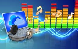portátil 3d e fones de ouvido portátil e fones de ouvido Fotos de Stock
