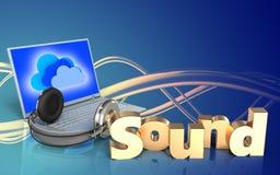 portátil 3d e fones de ouvido portátil e fones de ouvido Foto de Stock