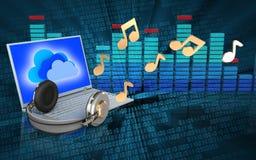 portátil 3d e fones de ouvido portátil e fones de ouvido Foto de Stock Royalty Free