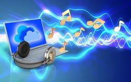 portátil 3d e fones de ouvido portátil e fones de ouvido Fotografia de Stock Royalty Free