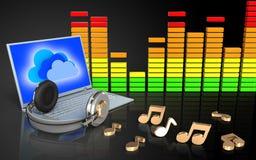 portátil 3d e fones de ouvido portátil e fones de ouvido Imagens de Stock Royalty Free