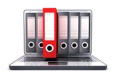 Portátil 3d e muitos arquivos e um arquivo vermelho ilustração stock