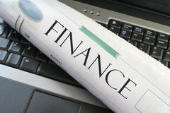 Portátil da finança Fotografia de Stock