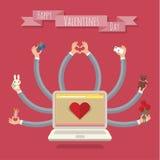 portátil das Muito-mãos Cartão do Valentim Fotos de Stock Royalty Free