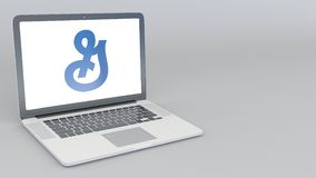 Portátil de abertura e de fechamento com logotipo geral dos moinhos animação do editorial 4K ilustração stock