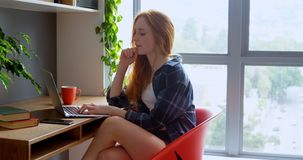 Portátil de utilização executivo fêmea no escritório 4k video estoque