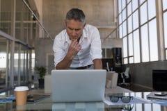 Portátil de utilização executivo masculino no escritório imagem de stock royalty free