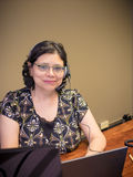 Portátil de utilização profissional fêmea Carreira-ocupado Fotos de Stock
