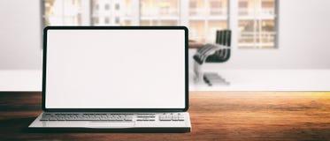 Portátil do computador com tela vazia, em uma mesa de madeira, fundo do escritório do borrão, bandeira ilustração do vetor
