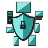 Portátil do computador do software do sistema operacional, telefone celular Rede da segurança Proteção de dados e trabalho seguro Fotografia de Stock Royalty Free