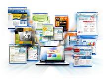 Portátil do computador do Web site do Internet ilustração do vetor