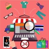 Portátil do conceito da compra do Internet com toldo ilustração do vetor