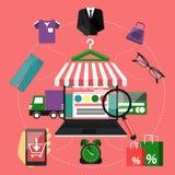 Portátil do conceito da compra do Internet com toldo ilustração stock