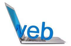Portátil e 3d WWW Foto de Stock Royalty Free
