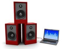 Portátil e altofalantes audio Imagens de Stock Royalty Free