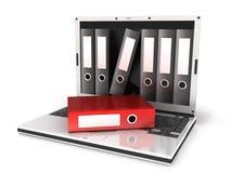 Portátil e arquivos vermelhos ilustração royalty free