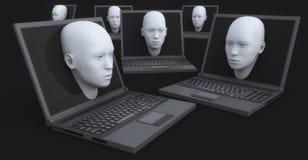 Portátil e cabeça 3d que saem da tela Fotos de Stock Royalty Free