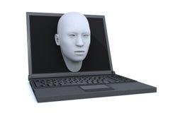 Portátil e cabeça 3d que saem da tela Fotografia de Stock