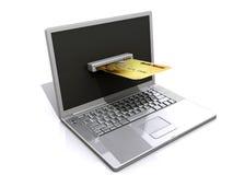 Portátil e cartão de crédito, conceito do comércio electrónico Fotos de Stock