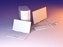 Portátil e computador de secretária Fotografia de Stock Royalty Free