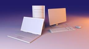Portátil e computador de secretária Fotos de Stock Royalty Free