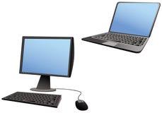 Portátil e computadores de secretária Imagem de Stock