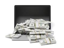 Portátil e dólares brancos Imagens de Stock