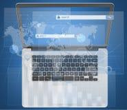 Portátil e diálogos com o menu da busca no global Imagem de Stock Royalty Free