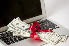 Portátil e dinheiro Fotos de Stock Royalty Free