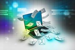 Portátil e envelope modernos Fotografia de Stock Royalty Free