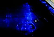 Portátil e fibra óptica Imagem de Stock Royalty Free