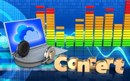 portátil e fones de ouvido audio do espectro 3d Imagens de Stock Royalty Free