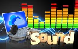 portátil e fones de ouvido audio do espectro 3d Foto de Stock