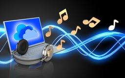 portátil e fones de ouvido da placa 3d Fotografia de Stock Royalty Free