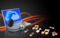 portátil e fones de ouvido da placa 3d Fotografia de Stock