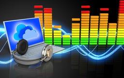 portátil e fones de ouvido da placa 3d Imagem de Stock Royalty Free