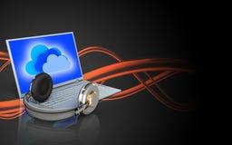 portátil e fones de ouvido da placa 3d Fotos de Stock