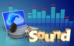 portátil e fones de ouvido do espectro 3d Fotos de Stock Royalty Free