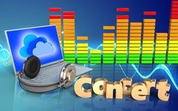 portátil e fones de ouvido do sinal do concerto 3d ilustração royalty free